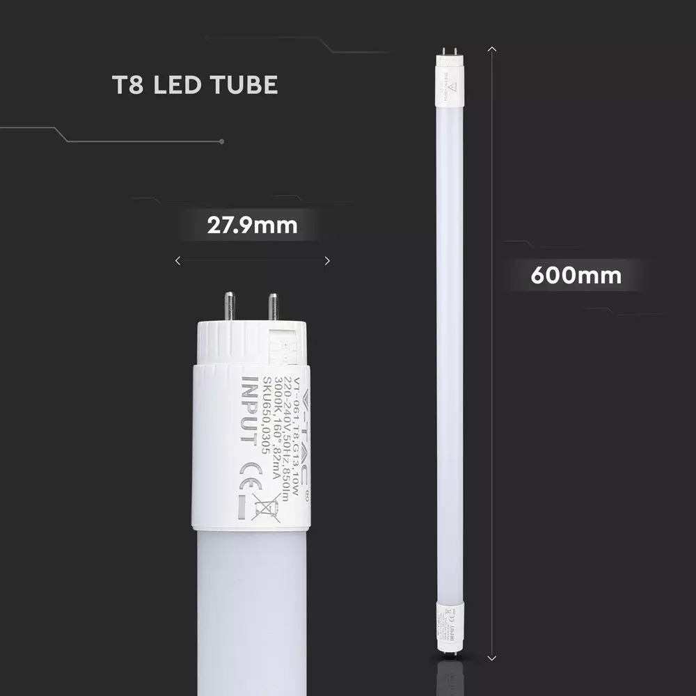 Tub LED T8, 10W, 60 cm, Nano Plastic, Non Rotativ 6400K