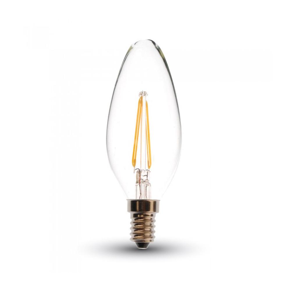 Bec LED - 4W, Filament, E14, Candle, 2700K, Dimabil