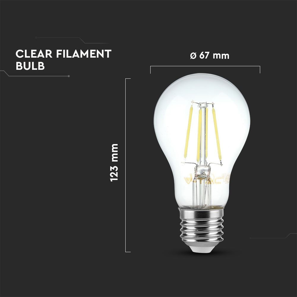 Bec LED - 8W, Filament, E27, A67, 4500K