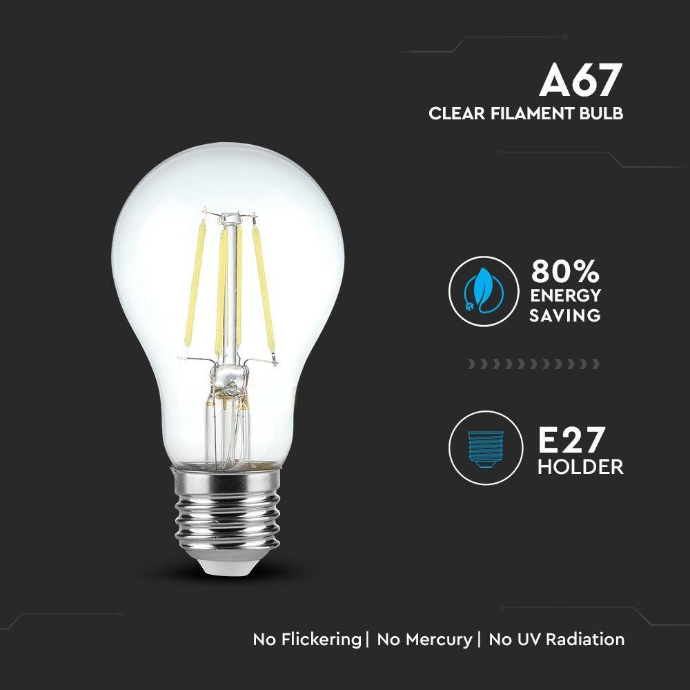 Bec LED - 8W, Filament, E27, A67, 6000K