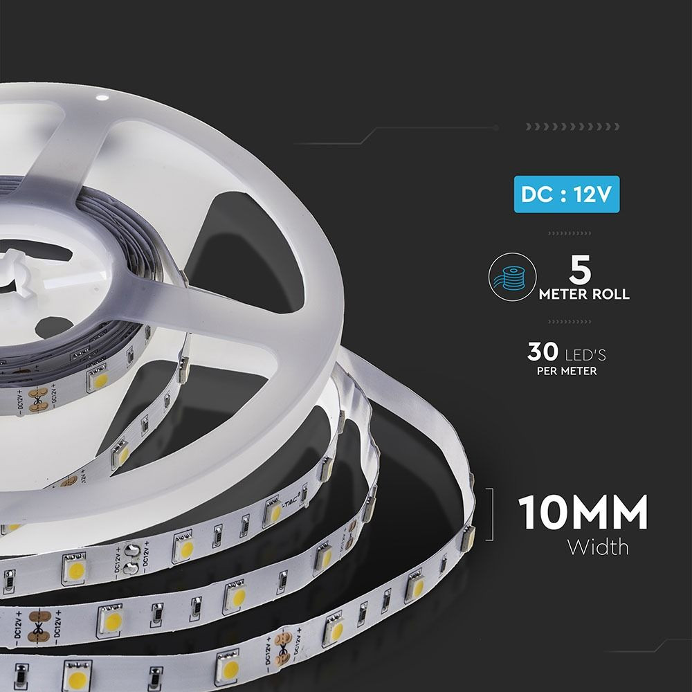 Banda LED SMD5050 - 4.8 W/m 30 LED/m 6400K IP20
