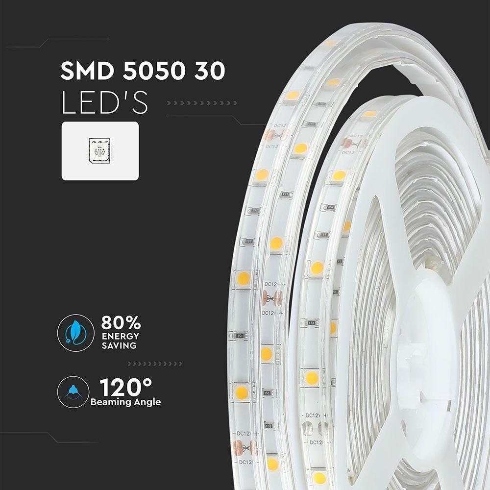 Banda LED SMD5050 - 4.8W/m 30 LED/m 3000K IP65