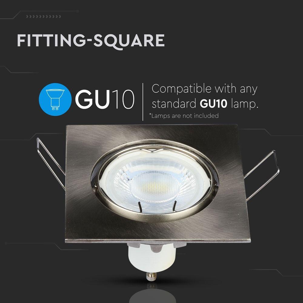 Rama Spot GU10 Patrat Satin Nickel