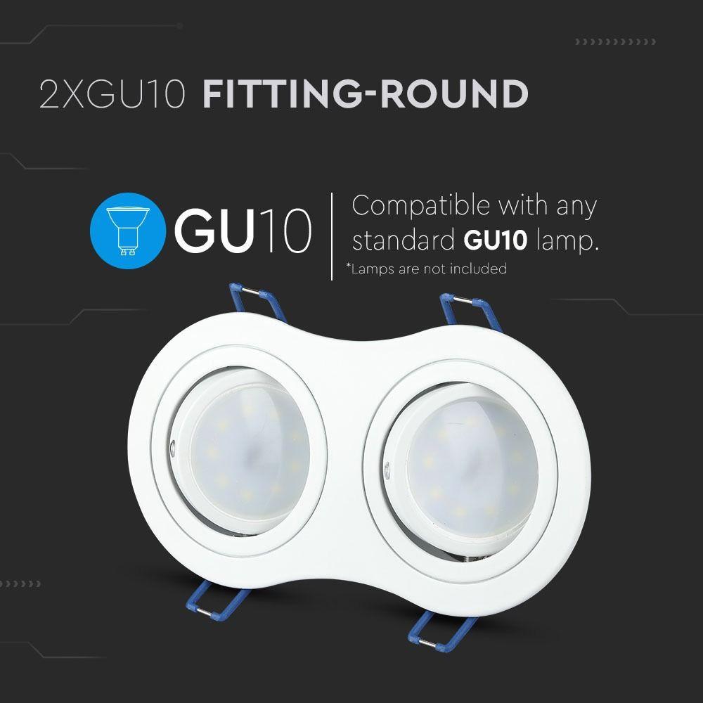 2*Rama Spot GU10 Rotund, Alb