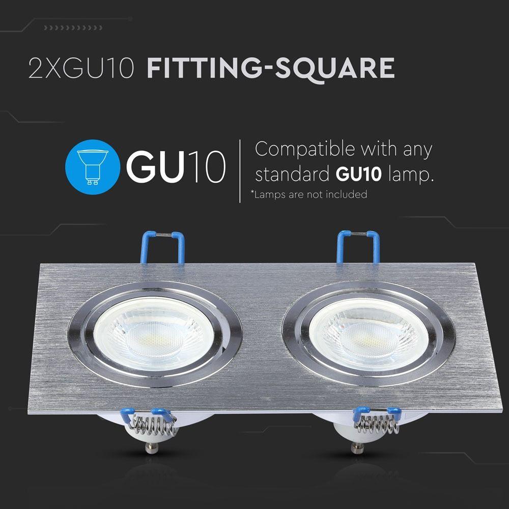 2*Rama Spot GU10 Patrat, Aluminium Brush