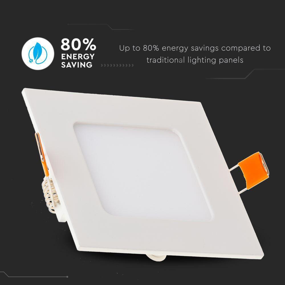 Panou LED 6W, Premium, Patrat, 3000K