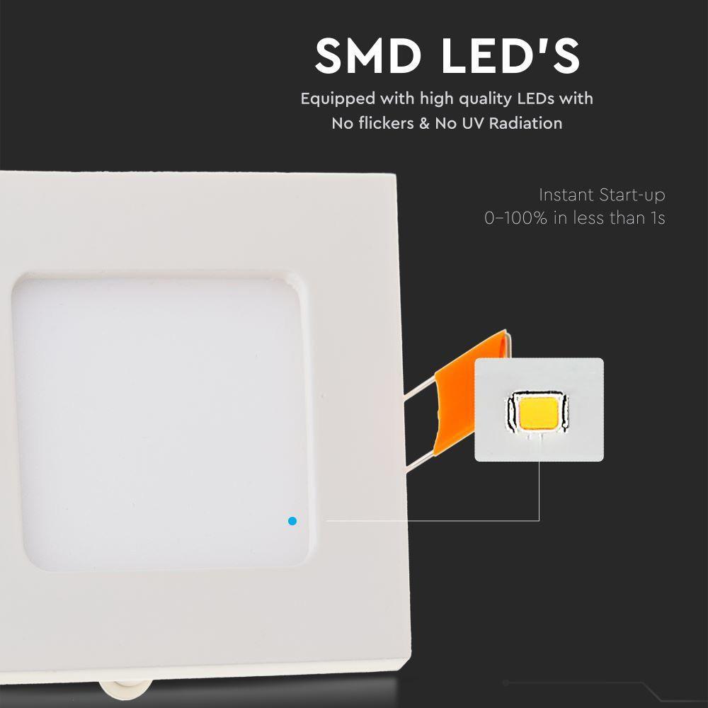 Panou LED 6W, Premium, Patrat, 6400K