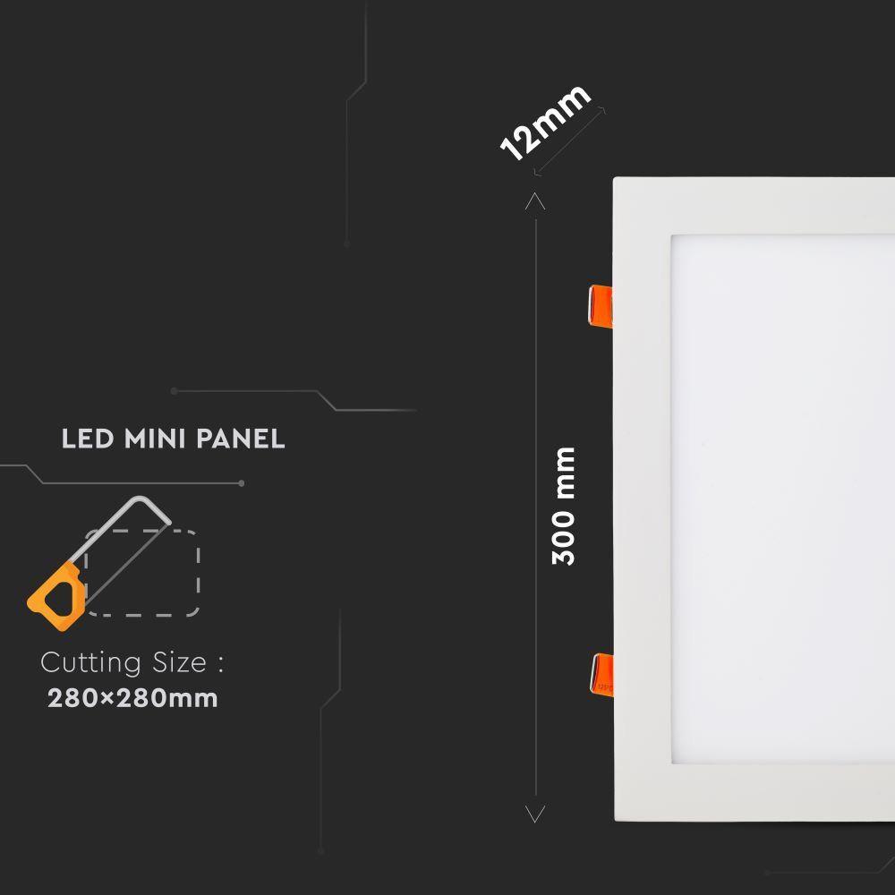 Panou LED 24W Premium, Patrat, 3000K