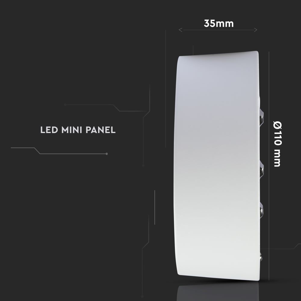 Panou  LED 8W Aplicabil, Rotund, 6000K