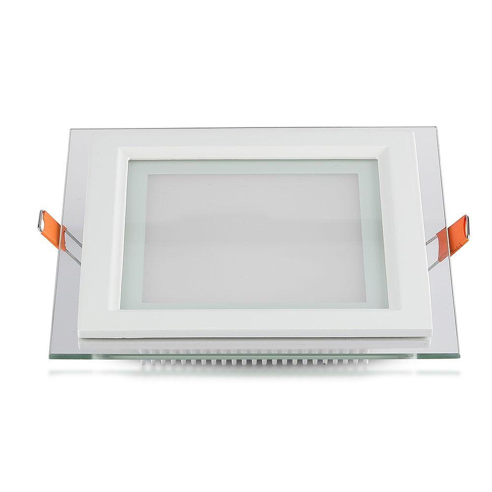 Panou LED Glass 12W, Patrat, 6400K