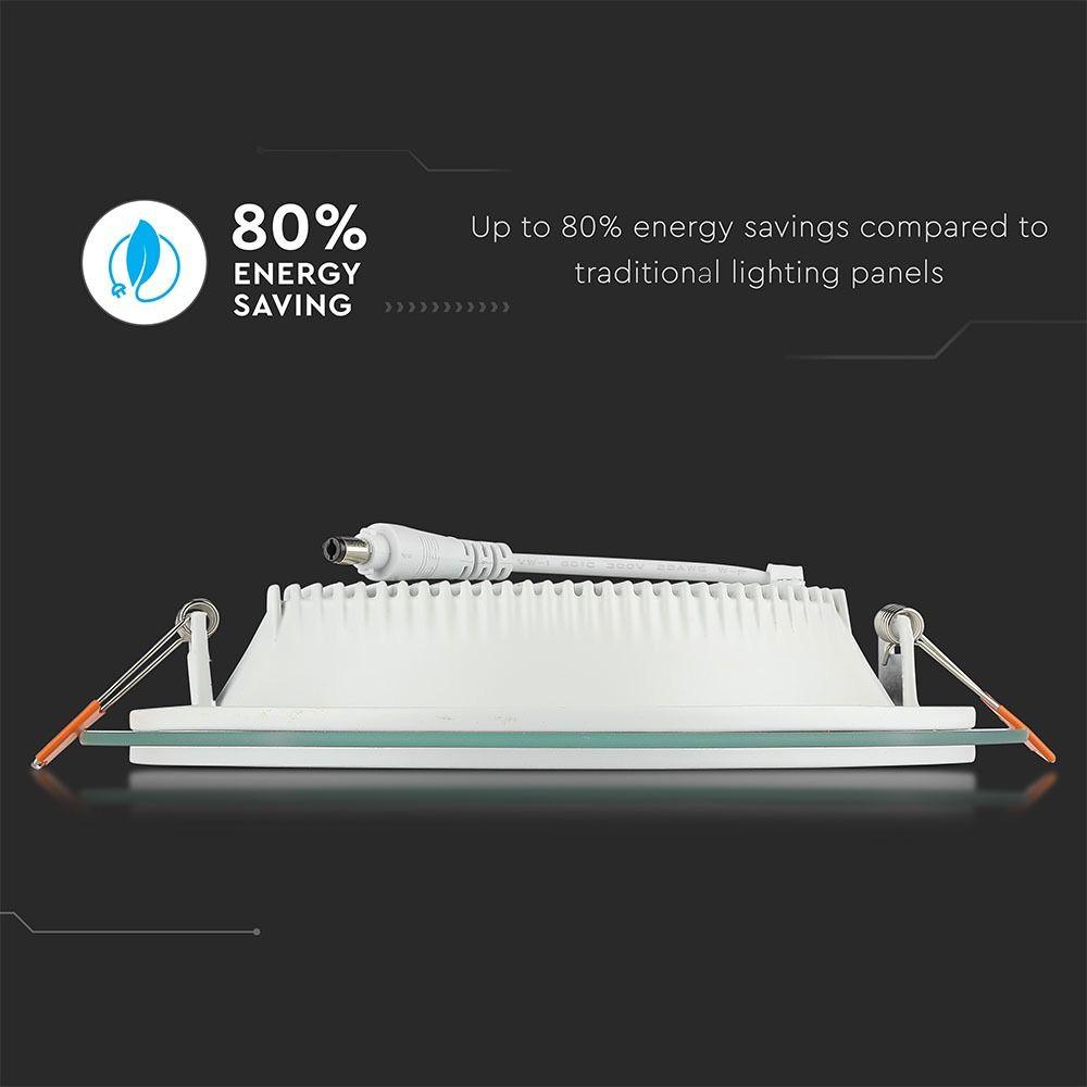 Panou LED Glass 12W, Rotund, 6400K