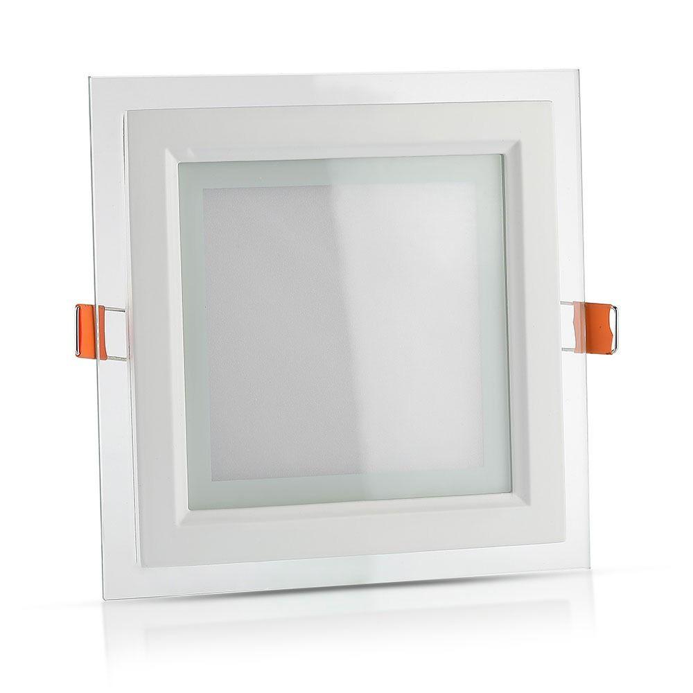 Panou LED Glass 18W, Patrat, 3000K