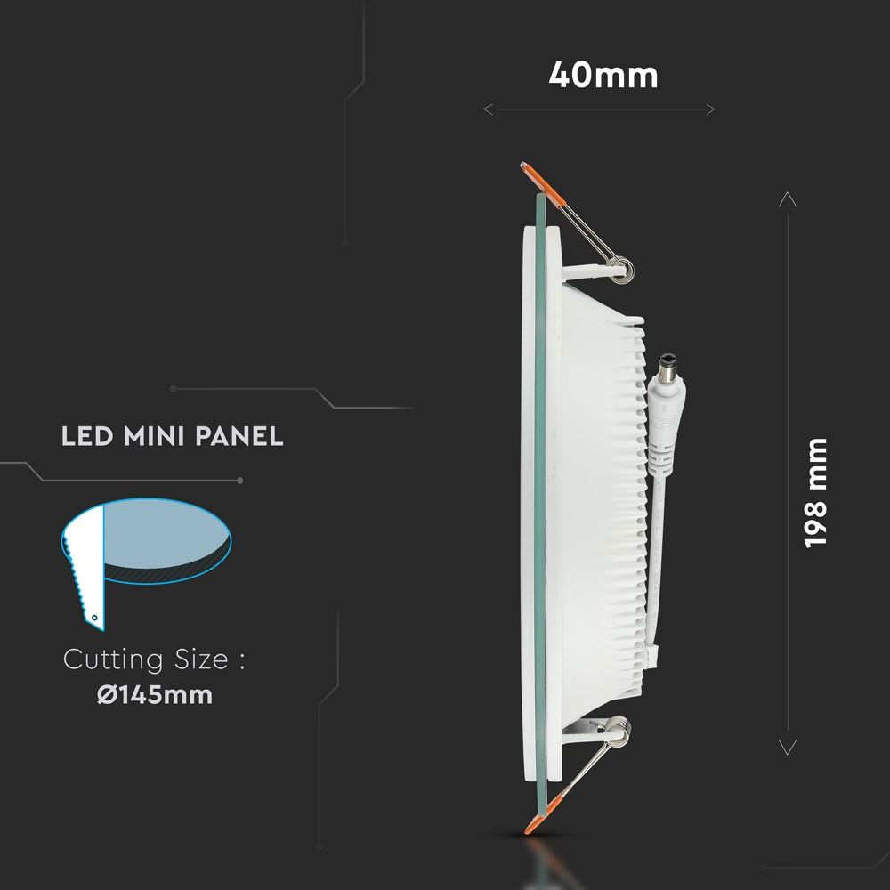 Panou LED Glass 18W, Rotund, 6400K