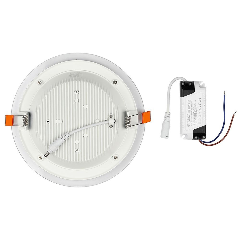 Panou LED Glass 18W, Rotund, 3000K