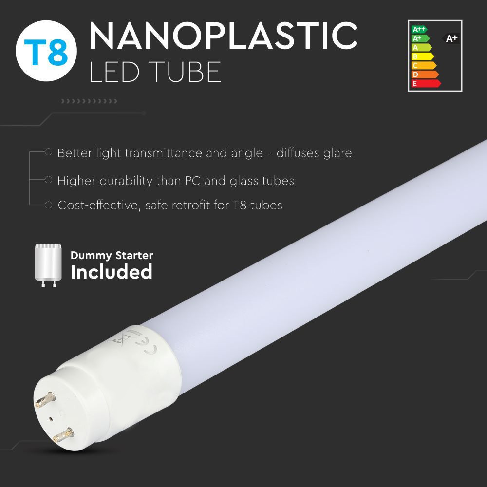 Tub LED T8, 18W, 120 cm, Nano Plastic, Non Rotativ 6400K