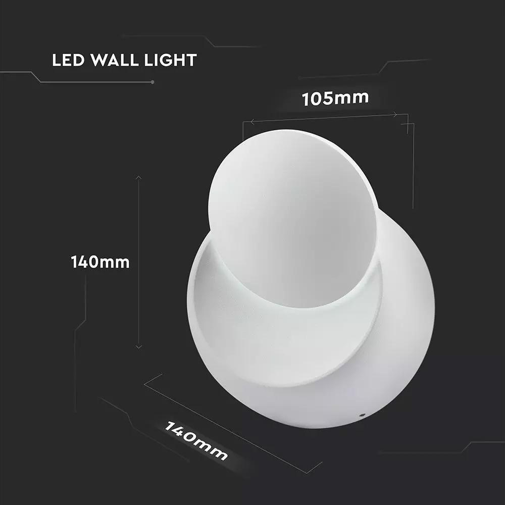 Aplica perete cu Chip Bridgelux, alb-rotund 4000K, 5W