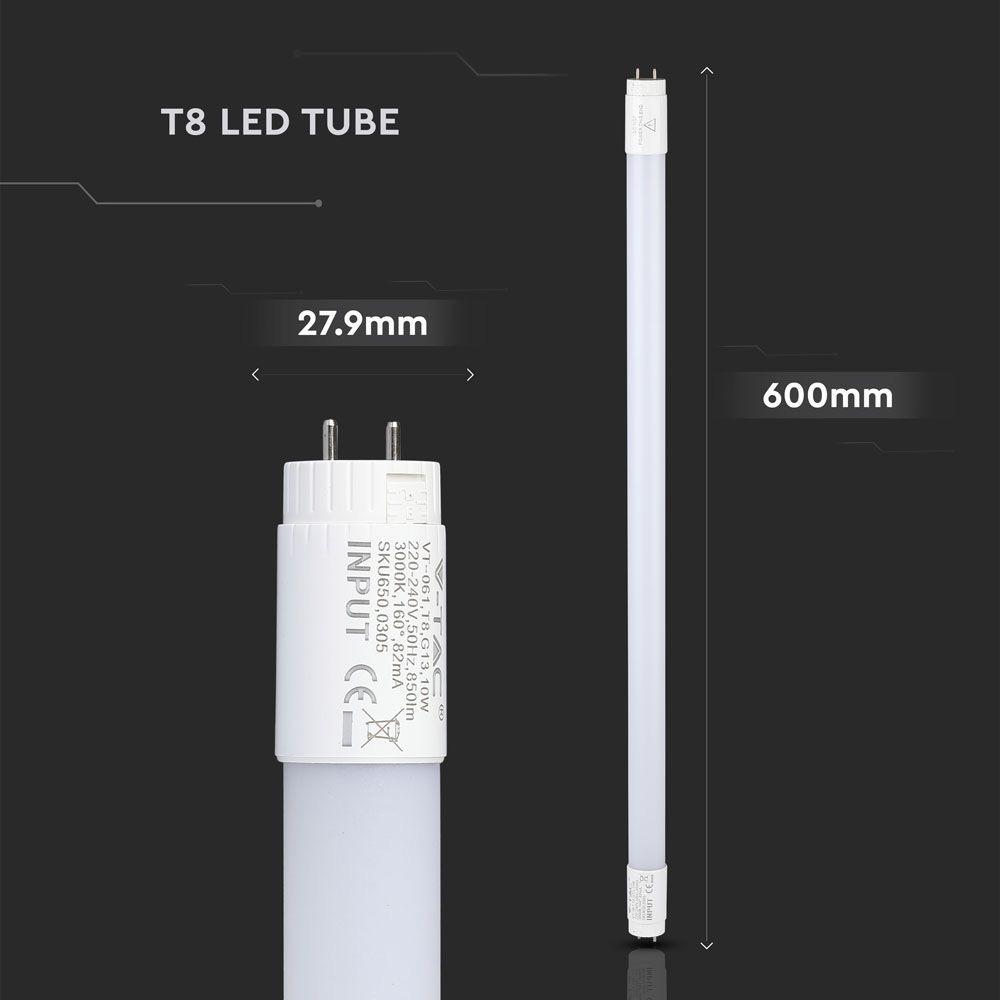 Tub LED T8, 10W, 60 cm, Nano Plastic Rotativ 3000K