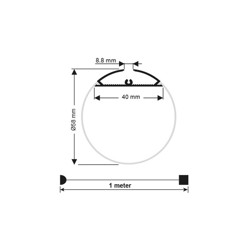 Profil Din Aluminiu Cu Dispersor rotund 2000x⌀60 mm, Aplicat-Suspendat
