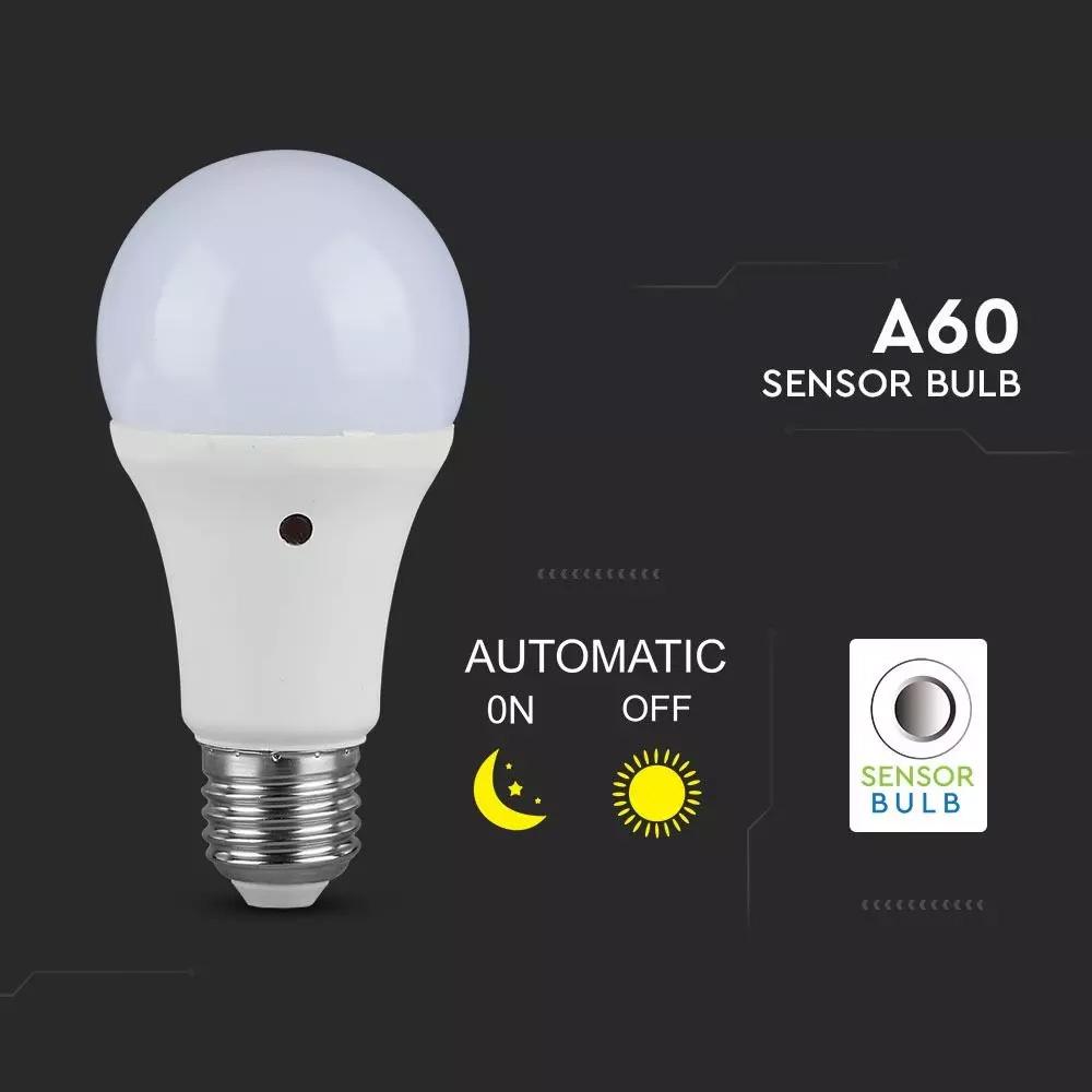 Bec LED - 9W, E27, A60, Thermoplastic, Senzor 200D, 2700K