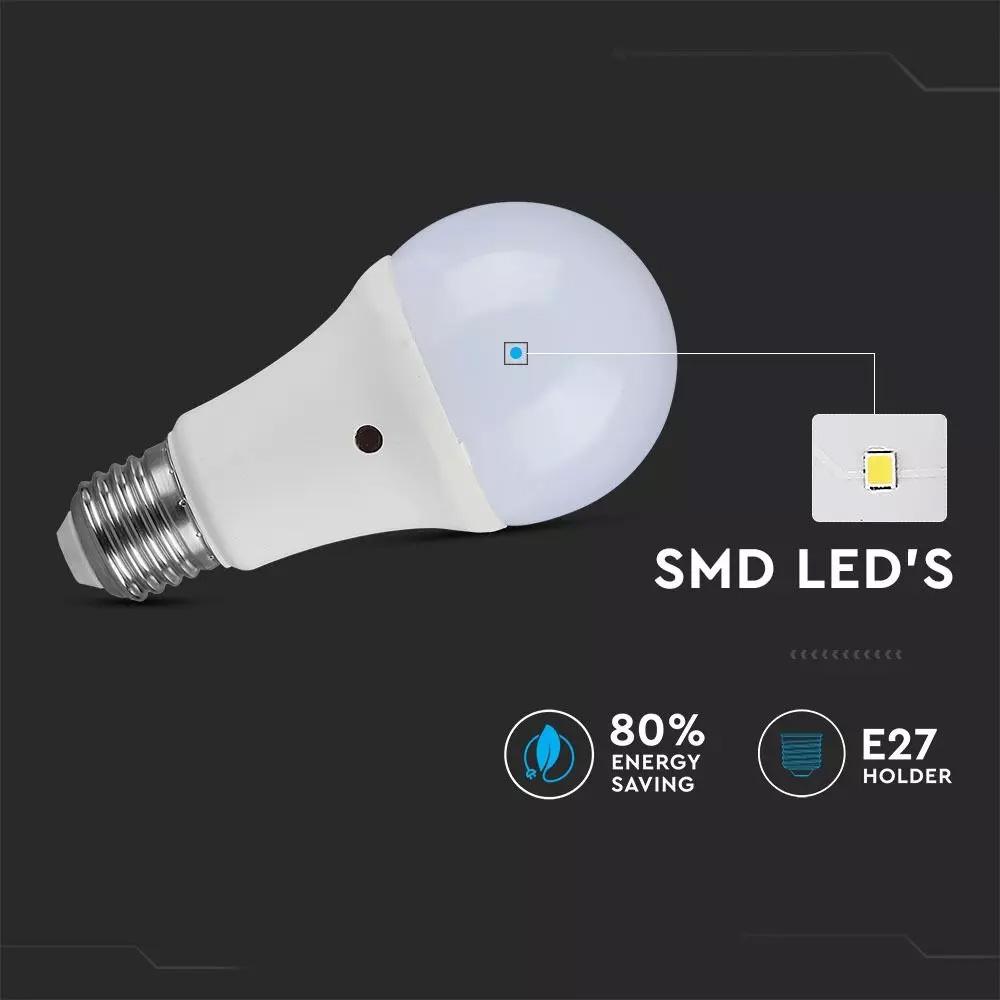 Bec LED - 9W, E27, A60, Thermoplastic Senzor 200D, 4500K