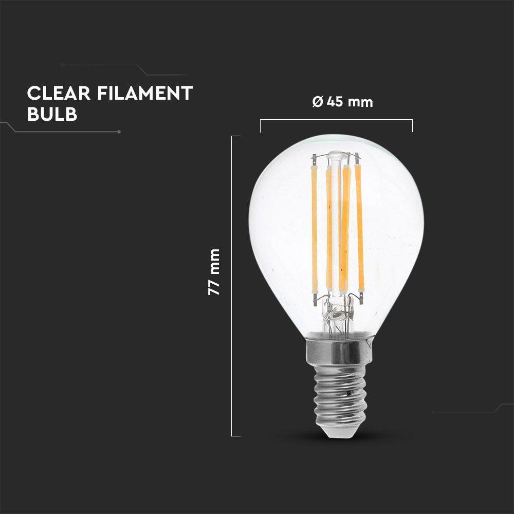 Bec LED - 4W, Filament, E14, P45, 2700K, Dimabil