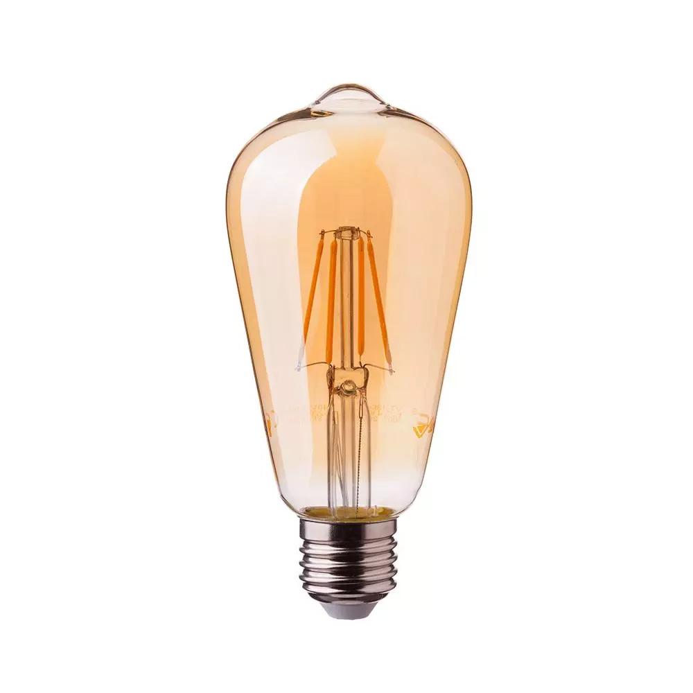 Bec LED - 4W, E27 Filament Amber Reflector, Al ST64 2200K