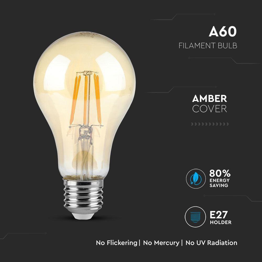 Bec LED - 4W, E27, Filament Amber Reflector Al 2200K