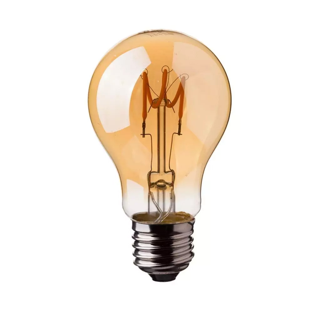 Bec LED - 3W, E27, Filament Gold Glass Curve Shape ST64, 2200K