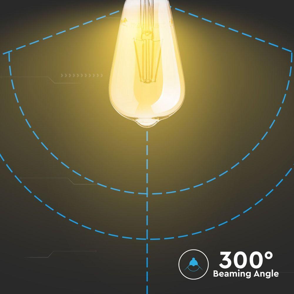 Bec LED - 6W, E27, Filament Amber Reflector Al ST64, 2200K