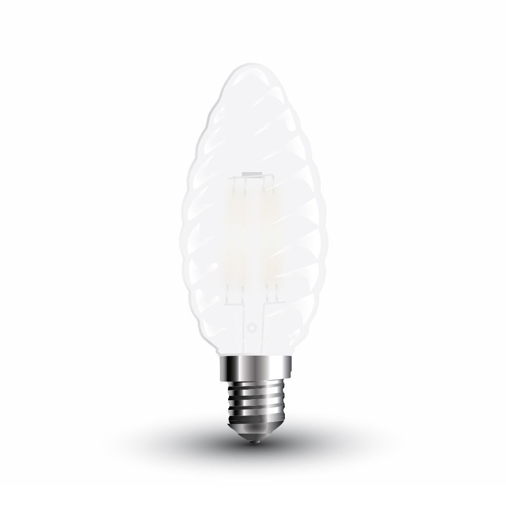 Bec LED - 4W, Filament E14, Dispersor Semi Transparent Twist Candle, 6400K