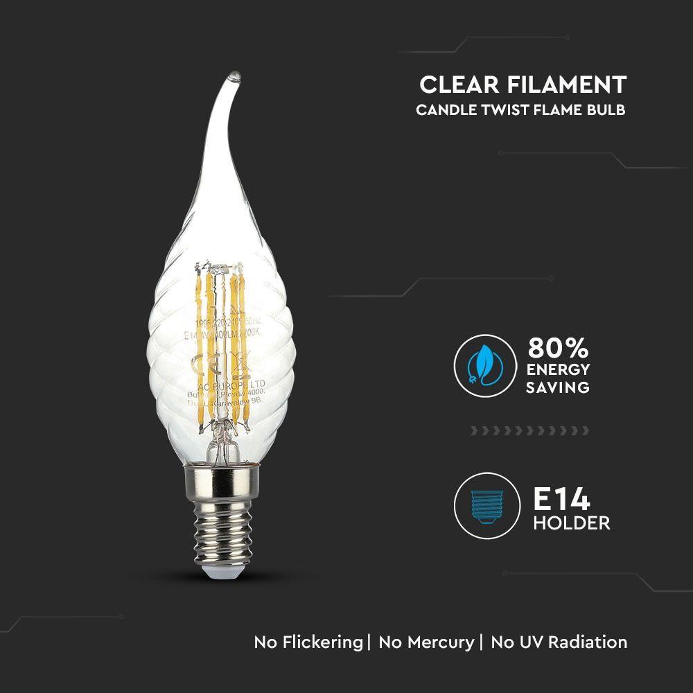 Bec LED - 4W, Filament, E14, Twist Candle Tail, 6000K