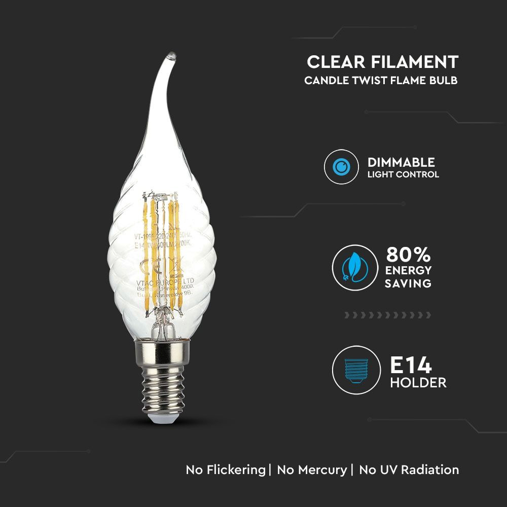 Bec LED - 4W, Filament, E14, Twist Candle Tail, 2700K, Dimabil