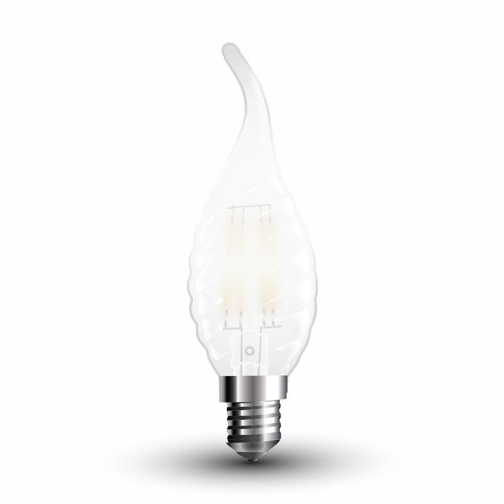 Bec LED - 4W, Filament E14, Dispersor Semi Transparent Twist Candle Tail, 2700K