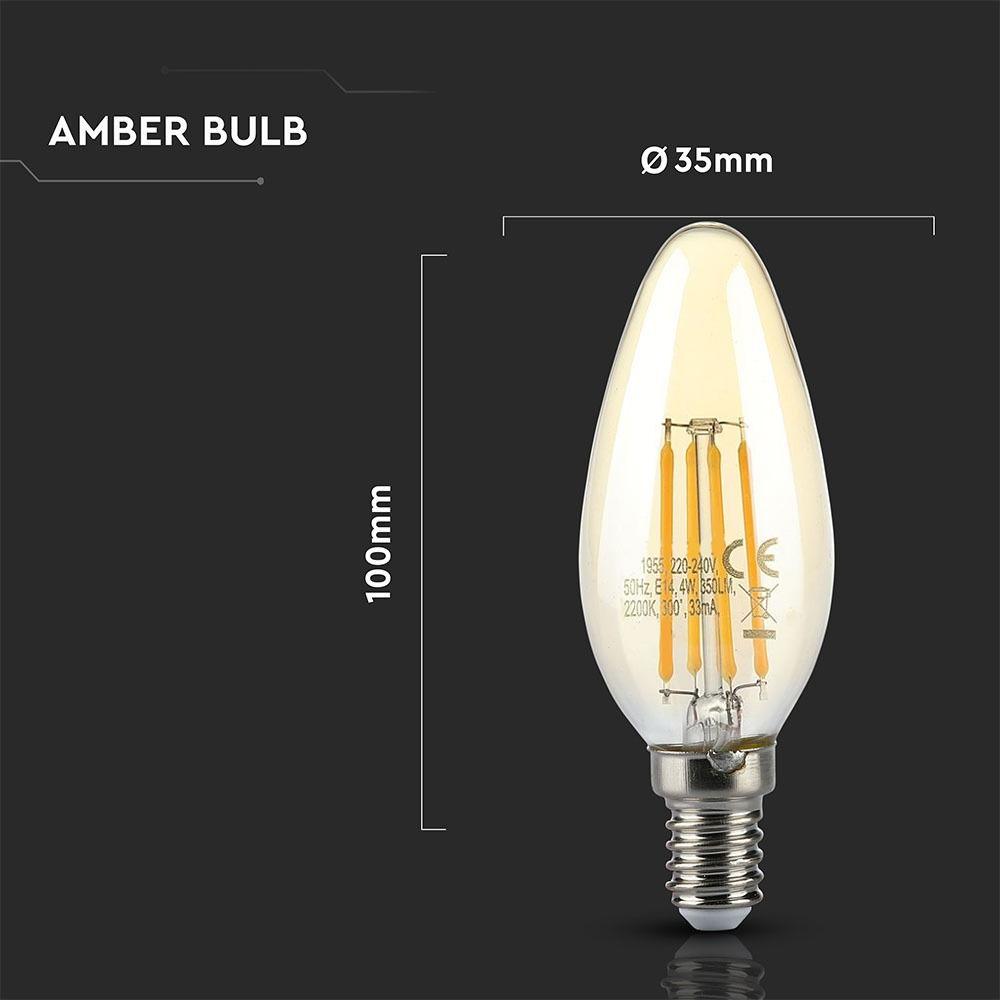 Bec LED - 4W, Filament, E14, Candle Amber Reflector Al 2200K