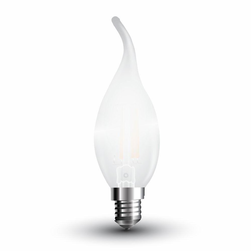 Bec LED - 4W, Filament, E14, Dispersor Semi Transparent, Candle Tail, 6400K