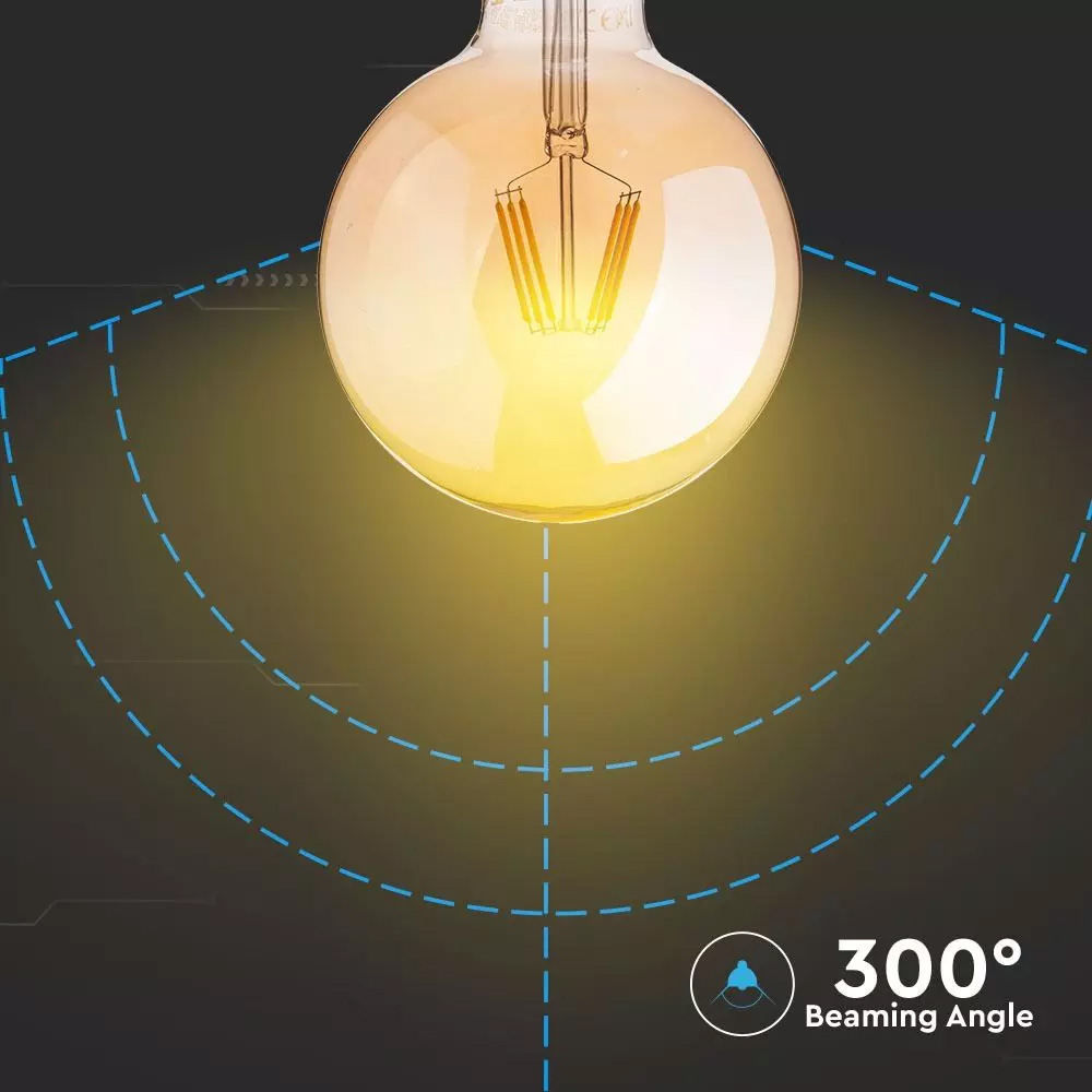 Bec LED - 6W, Filament, E27, G95, Amber 2700K, Dimabil