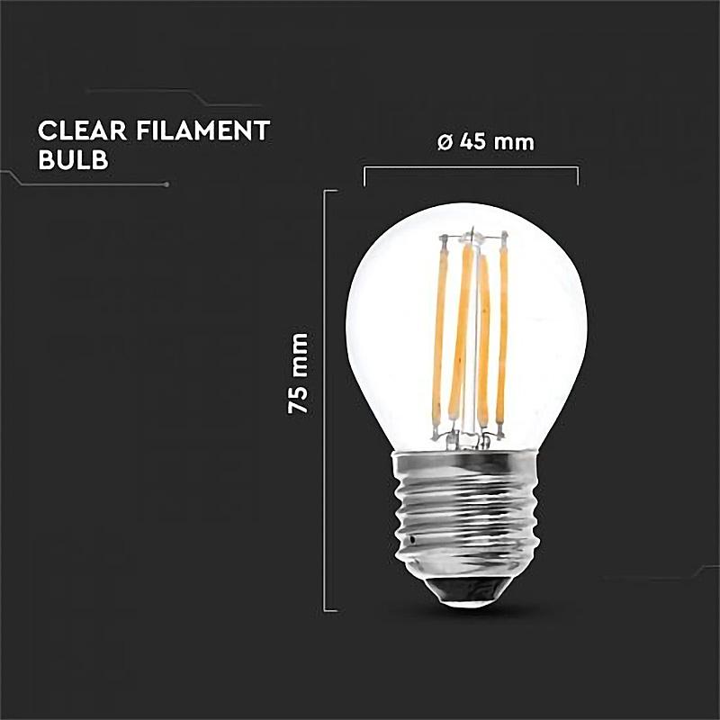 Bec LED - 4W, Filament, E27, G45, 6000K