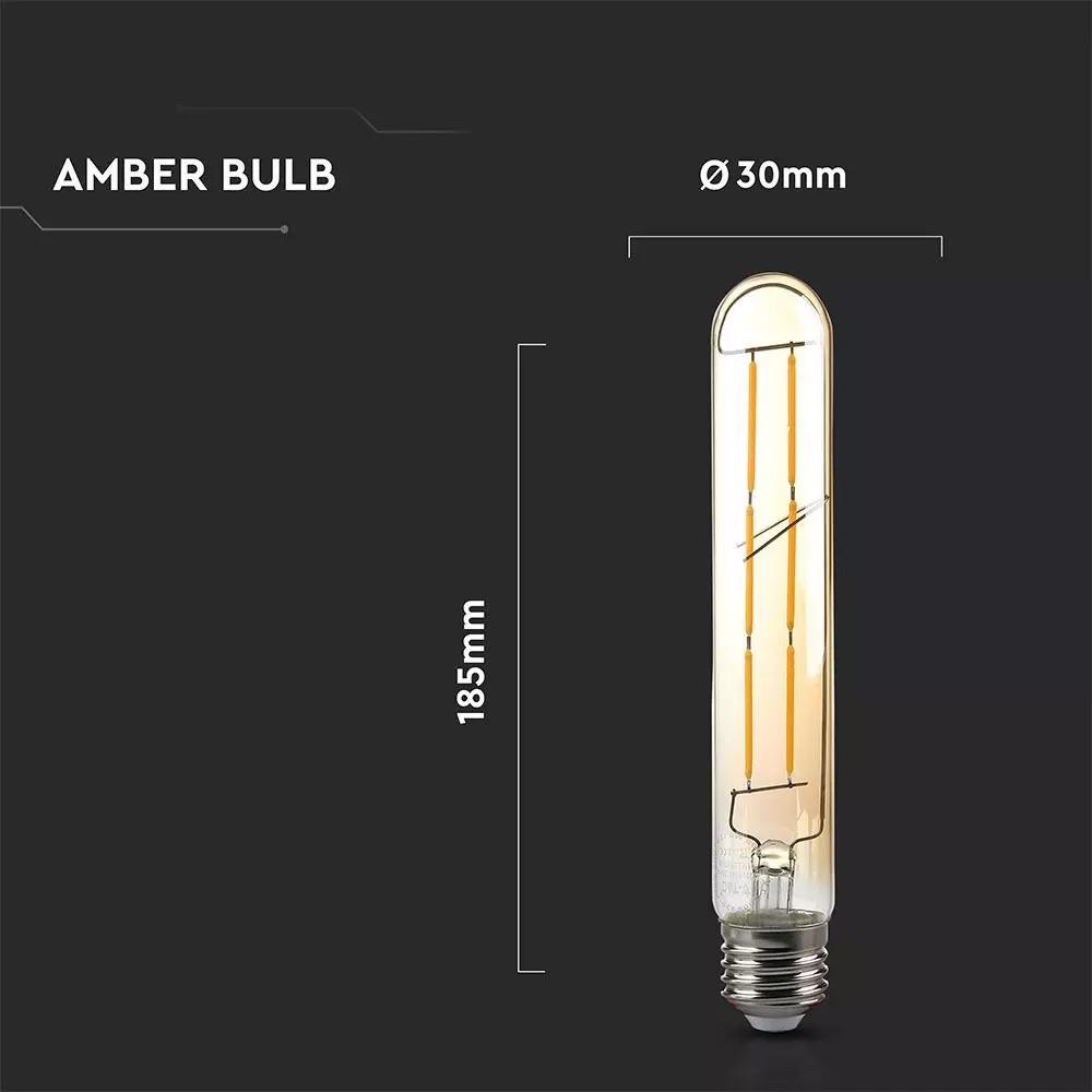 Bec LED - 6W, T30, E27, Filament Amber, 2200K