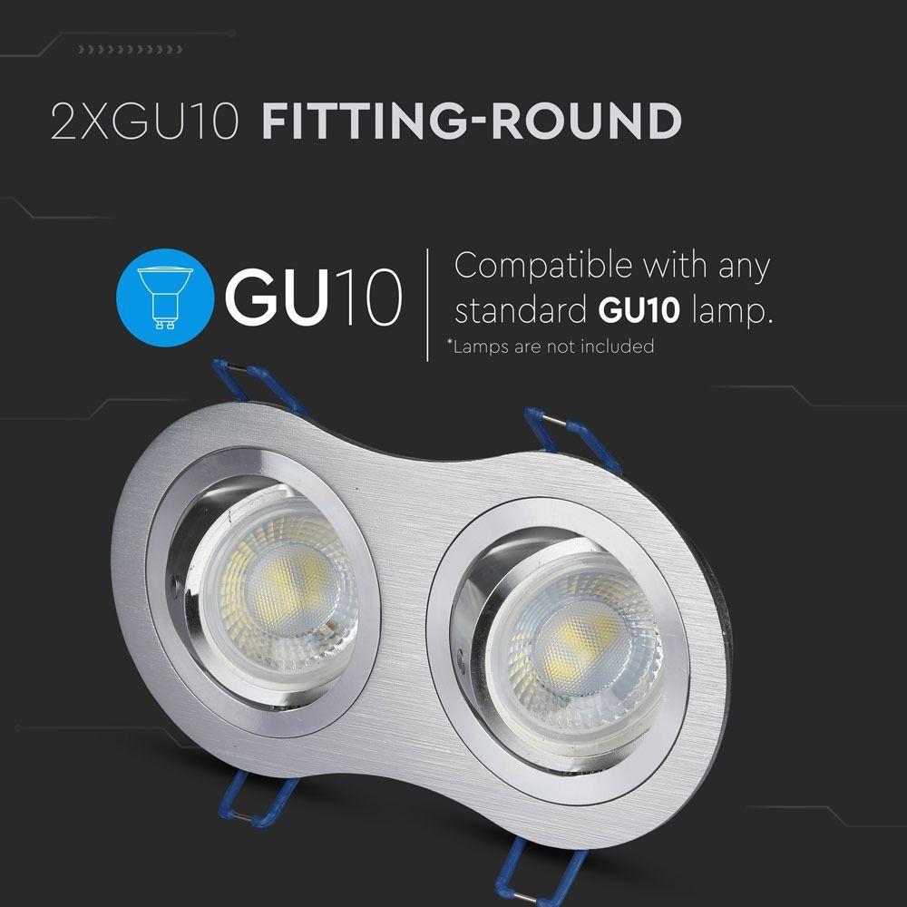 2*Rama Spot GU10 Rotund Aluminium Brush
