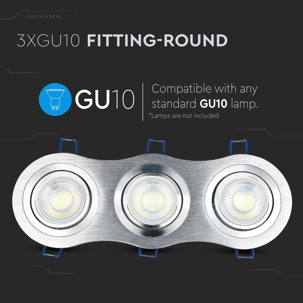3*Rama Spot GU10 Rotund Aluminium Brush