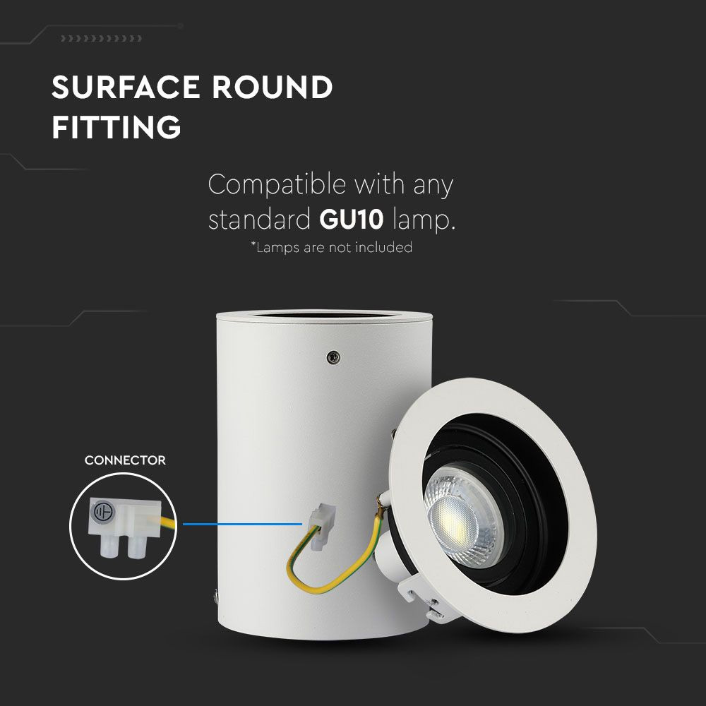 Rama Spot GU10 Aplicabila Rotund Alb