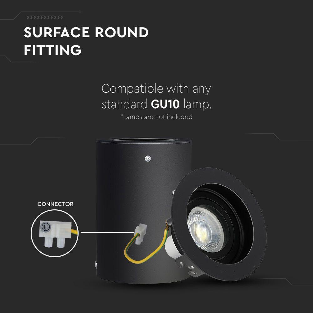 Rama Spot GU10 Aplicabila Rotund Negru