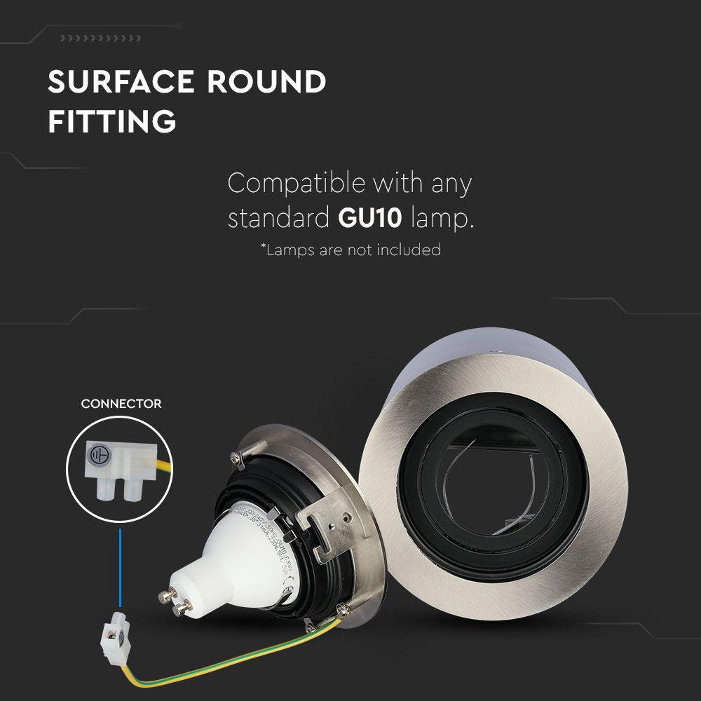 Rama Spot GU10 Aplicabila Rotund Satin Nickel