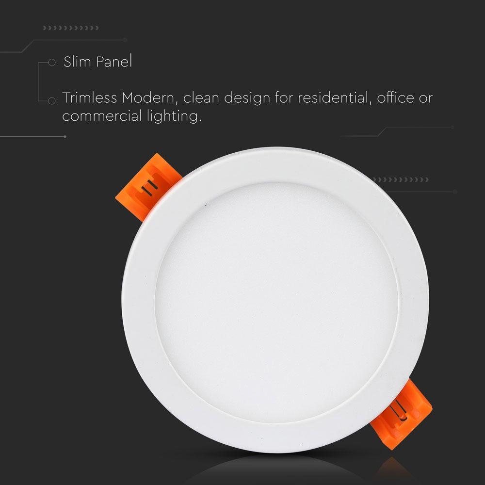 Panou Slim LED 8W, Rotund, 6000K