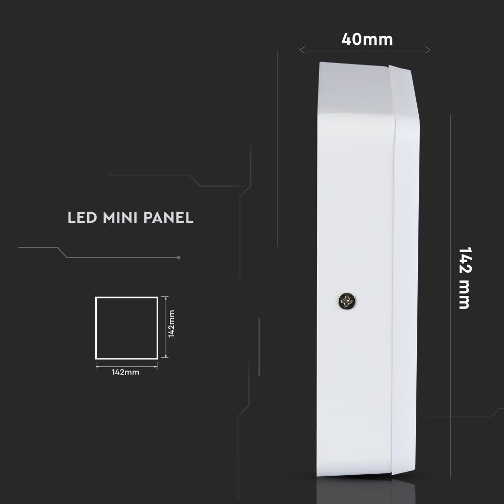Panou LED 8W, Aplicabil, Patrat, 4500K