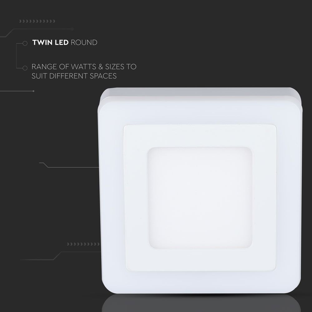 Panou LED 22W, Aplicabil, Patrat, 3000K