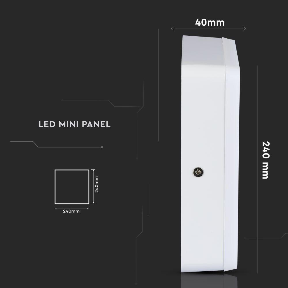 Panou LED 22W, Aplicabi, Patrat, 4000K