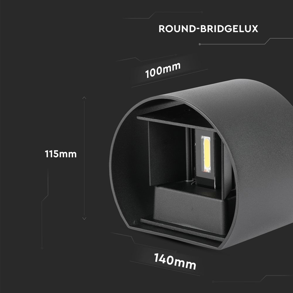 Aplica 6W, Perete cu Chip Bridgelux Corp Gri Rotund 3000K