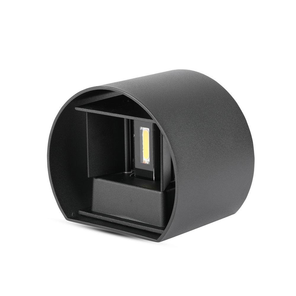 Aplica Perete 6W, Corp Negru Rotund IP65, 3000K