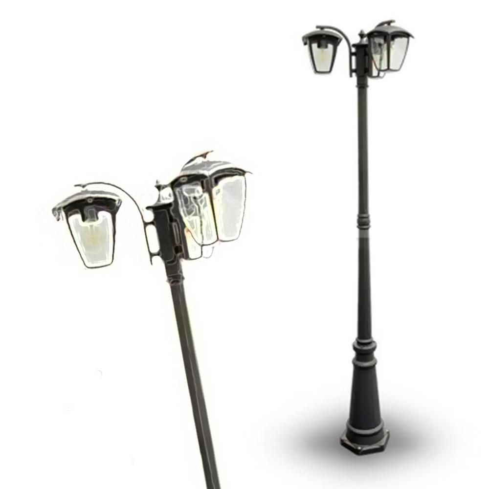 Stalp cu Lampa 3XE27, 1990mm IP44 Negru